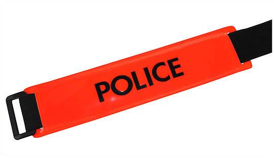 Brassard POLICE(*) fond rouge orangé texte noir