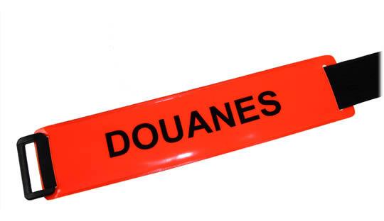 Brassard DOUANES(*) fond rouge orangé texte noir