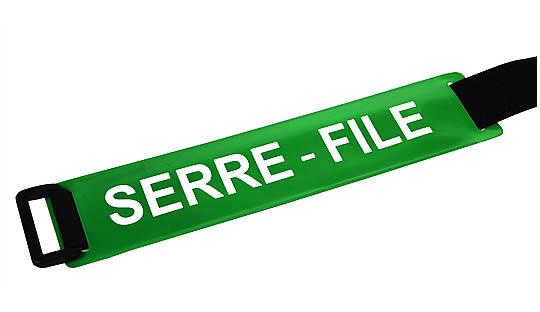 Brassard SERRE-FILE fond vert texte blanc