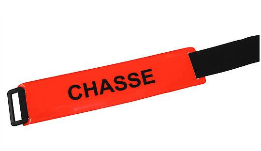 Brassard CHASSE fond rouge orangé texte noir