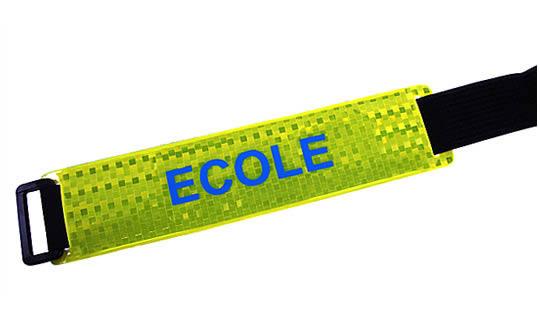 Brassard ECOLE fond jaune texte bleu