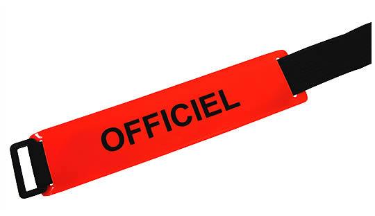 Brassard OFFICIEL fond rouge orangé texte noir
